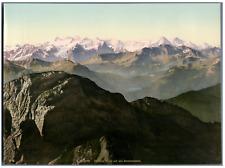 Pilatus, Blick auf die Berneralpen WK vintage photochromie,  photochromie, vin