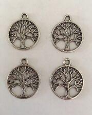 """Lot de 4 breloques / pendentifs """"arbre de vie"""" cerclés en argent tibétain 20 mm"""