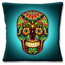 NEU Tag der Toten Sugar Skull Wasser Jade mehrfarbig 40.6cm Kissenbezug