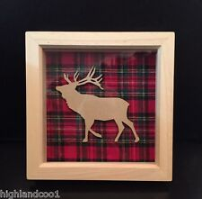 Scottish stag with tartan picture in box frame