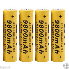 4Pcs 3.7V 18650 9800mAh Li-ion Rechargeable Battery For LED Flashlight Torch New