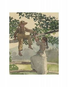 "ON THE FENCE 1878 BY WINSLOW HOMER    ART PRINT POSTER 14"" X 11"" (2766)"