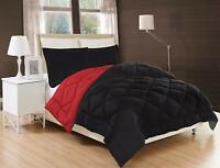 3-Piece Reversible Down Alternative Comforter Set and Shams Black / Red Color!