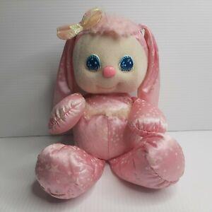 Vintage PJ Sparkles Sparklins 1989 Pink Bunny Rabbit Plush Glowing Stars Pet