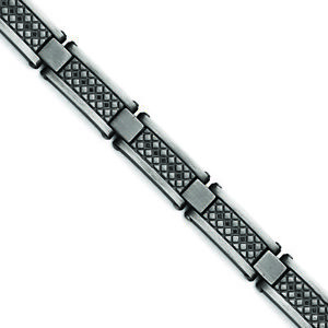 "Chisel Stainless Steel Matte/Antiqued 1/10ct.tw Black Diamond Bracelet 9"" SRB153"