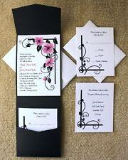100 Personalized Custom Pink Floral Pocket Wedding Invitations Set