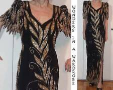 GLAM GOLD SEQUINS & BEADS BLACK SILK HOURGLASS LONG DRESS SLIT PETAL SLEEVES S 4