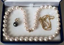 Tahitiperlen Diamant Clip-Anhänger Gold 585 + Zuchtperlenkette + Goldkette