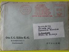 RARA AFFRANCATURA MECCANICA ROSSA1956 OTTO E.G. KAHLER K.G. PER BUGGIANO