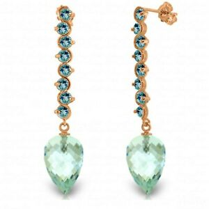 25.6 Carat 14K Solid Rose Gold Drop Briolette Blue Topaz Gemstone Earrings
