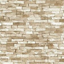 P+S 3D Effect Brick Wallpaper Beige Natural Stone Slate Rustic Weathered Texture