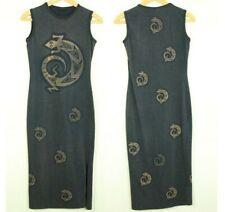 Black Cotton Bodycon Midi Dress Lizard Gecko Knit Midi Boho Tribal Brown S 90s