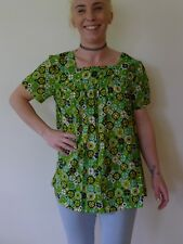 Vintage retro 60s 10 S unused cotton baby doll smock top  green maternity NWOT