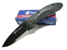 Couteau Smith&Wesson SWAT Lame Acier 4034 Serrat Manche Aluminium Gray SW6000BS