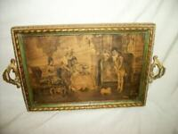ANTIQUE FRENCH SEPIA WOOD VANITY TRAY TABLE FRAME GREEN PARLOR SCENE HANDLES
