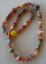 "Necklace of Ethnic/Carnelian/Old & Collectible Beads/27"" Around"