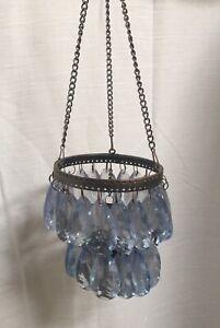 Lot Of 6 Lt. Blue Acrylic Crystal Hanging Tea light Candle Holder Wedding Decor