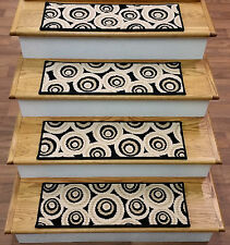 "Rug Depot Set of 13 Contemporary Circle Carpet Stair Treads 27"" x 9"" Black Wool"