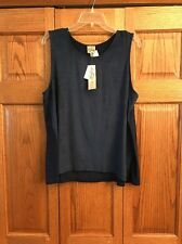 Como Vintage Top Shell Tank Navy Microfiber Front Scoop Neck Womans Size XL New