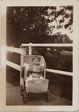 Old Vintage Antique Photograph Adorable Baby Sitting in Wicker Carriage