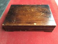 ANTIQUE ELKINGTON WOODEN FITTED CANTEEN CUTLERY CASE - EMPTY REPURPOSE OR REUSE