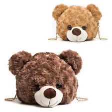 Women Furry Handbag Shaped Teddy Bear Head Faux Fur Female Fashion Designer Bag