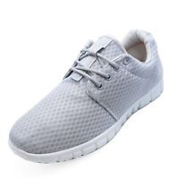 MENS LIGHT GREY LACE-UP MEMORY FOAM CASUAL TRAINERS PLIMSOLLS PUMPS SHOES 7-12