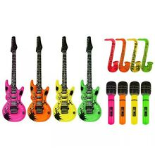Inflatable Guitar Saxophone Microphone Blow Up Fancy Dress Party Prop lot set 3