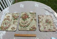 3 French Antique c1920-30 Floral Cotton Jacquard Tapestry Fabric Samples