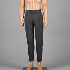 30x29 Small Vintage 1960s 60s Black Pants MOD Highwaist Pleated Skinny Taper