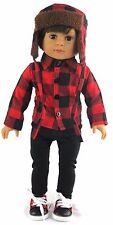 "Boy Plaid Shirt, Pants, & Laplander Hat fits 18"" American Girl Doll Clothes"