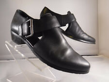 """FR TAHARI """"LEMAIRE"""" Black Leather Buckle Strap Booties Mules Shoe Boots Cut-Out"""