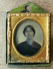 ANTIQUE AMERICAN LADY GOLD EARRING ARTISTIC AMBROTYPE FOLK ART FRAME PHOTOGRAPH