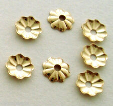 50pcs 4mm Bead Cap 14k yellow Gold Filled flower round disc thin cap GC02