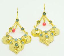 Ottomangems Semi Preziosi Gem Stone placcato oro Orecchini Agata fatto a mano