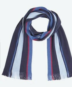 MARKS AND SPENCER SOFT TOUCH BLUE MIX Striped Scarf BNWT