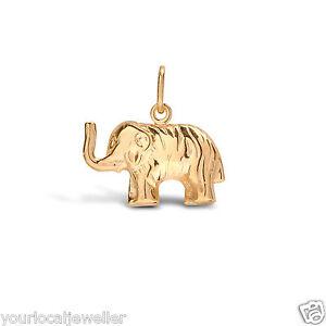 9ct Yellow Gold Elephant Hollow Charm Pendant 0.9g *NEW* - Good Luck