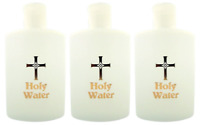"""Lot of 3 Holy Water Bottle with Gold Cross & """"Holy Water"""" Text 5"""" H, 4 oz"""