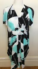 COUNTRY ROAD Black Aqua White Geometric Brushstroke Drape Short Sleeve Dress 8