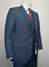 Men's Blue Glen Plaid 3 Piece 2 Button Slim Fit Suit SIZE 36S NEW