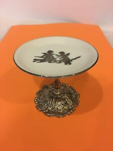 Vtg Hand-painted 5'' ceramic trinket,candy plate , silverplated pedestal 4'' H