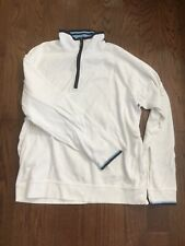 Brooks Brothers 1/4 Zip Performance Knit White Supima Cotton Pullover - Size: L