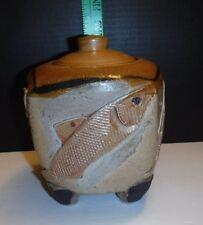 Smicksburg Pottery Shop Signed Footed Fish Design Jar with Lid