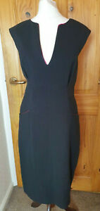 Made in Italy Size 14 Smart Evening Occasion Office Work Black Pencil Dress
