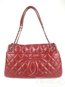 BIDSALEONLY! AUTHENTIC $3200 CHANEL Red Timeless Soft Caviar Leather Tote Bag
