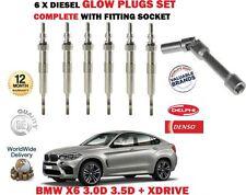 FOR BMW X6 3.0D 3.5D + XDRIVE M57N2 N57 2007-> 6X DIESEL GLOW PLUG SET + SOCKET
