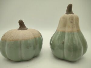 32.  Pumpkin and Gourd Glazed And Unglazed Part Textured and Part Shiny, Figurin