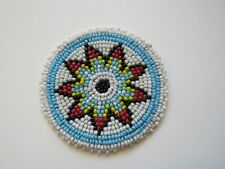 """New listing Beaded Rosette 3"""" Round Leather Sewing Regalia Crafting Tribal Native Design 4B"""
