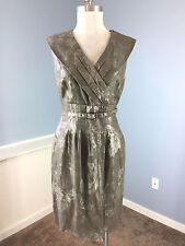 Classiques Entier M 8 Gray Pewter Silver Floral Linen Sheath Dress Belt Career