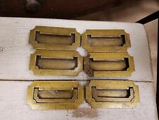 (6) Vintage Antique Brass Recessed Flush Hardware Handle Drawer Pulls As Is